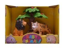 Divoké zvieratká pod stromom lev a tiger