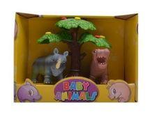 Divoké zvieratká pod stromom nosorožec a hroch