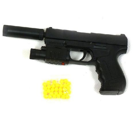 Pištoľ na guľky s laserovým zameriavačom a tlmičom