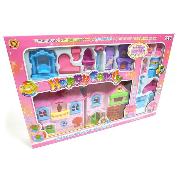 Ružový domček pre bábiky s nábytkom