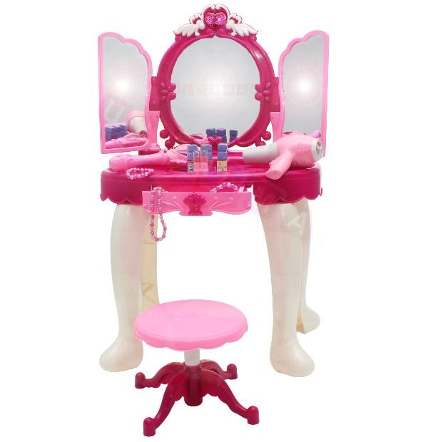 Ružový toaletný stolík so stoličkou