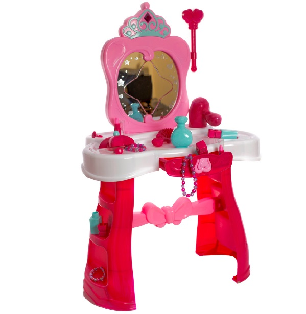 Ružový toaletný stolík so svetlom
