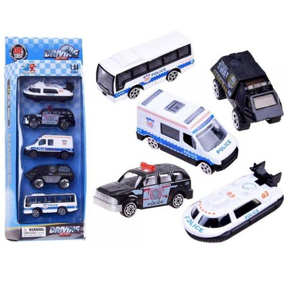 Sada 5 kovových policajných aut