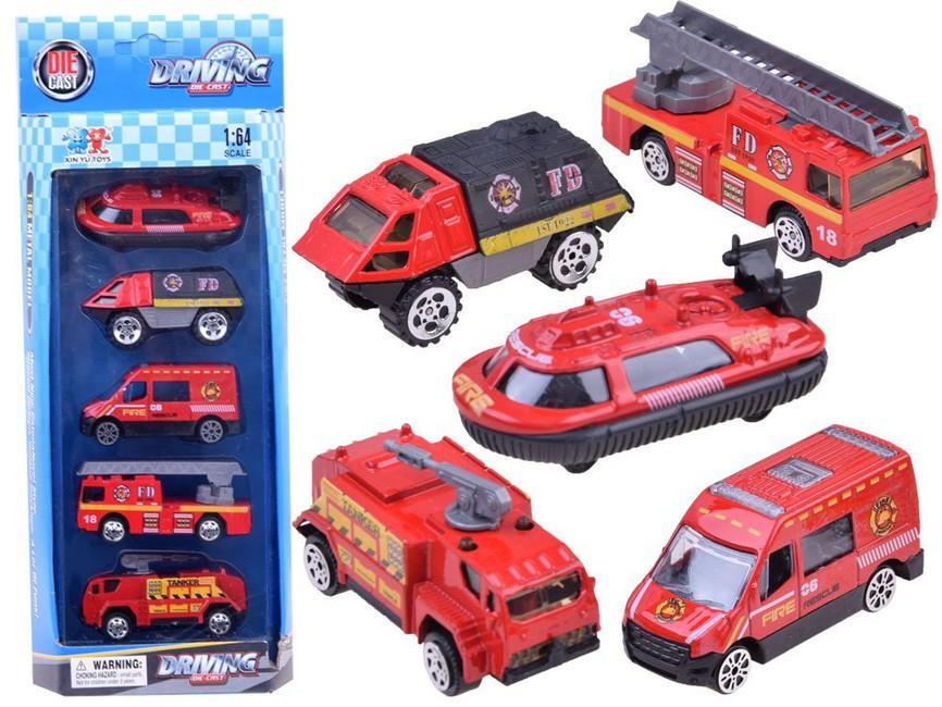Sada 5 kovových požiarnických aut