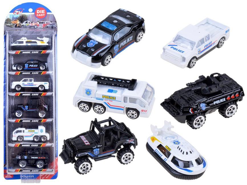 Sada 6 kovových policajných aut