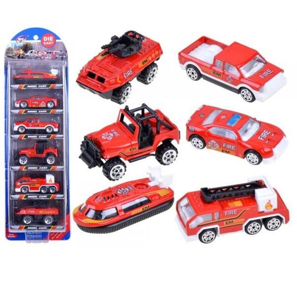 Sada 6 kovových požiarnických aut