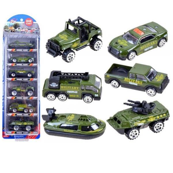 Sada 6 kovových vojenských aut