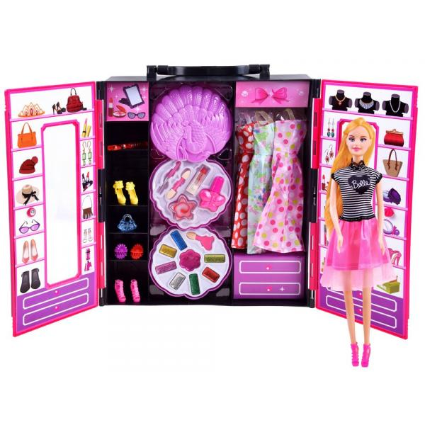 Skriňa s oblečením a doplnkami + bábika