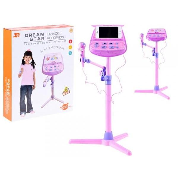 Súprava karaoke: mikrofón + hudobný stojan
