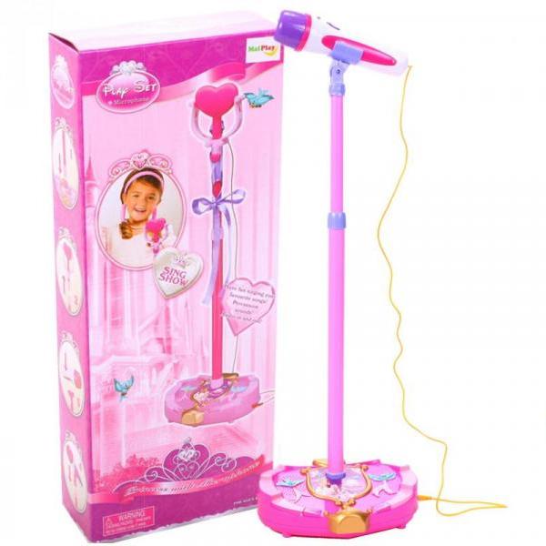 Súprava na karaoke - mikrofón ružový s mp3