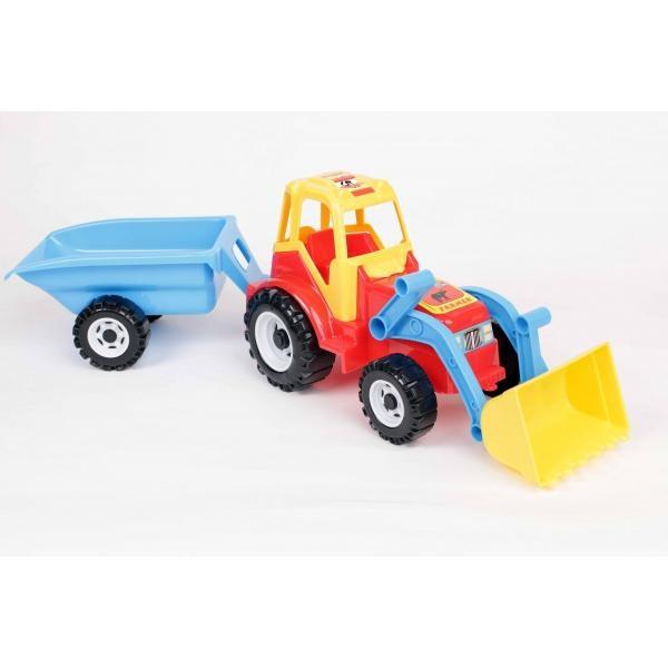 Traktor s nakladacou lyžicou a vlečkou
