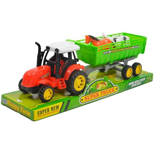 Traktor so zvieratami na vlečke