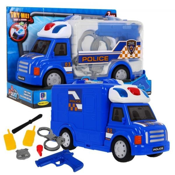 Veľké policajné vozidlo s príslušenstvom