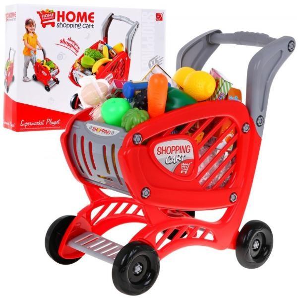 Veľký červený nákupný vozík s potravinami