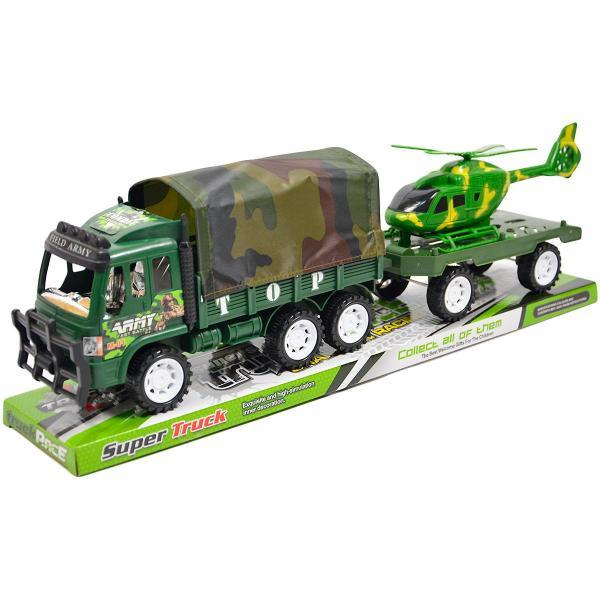 Vojenské auto s prívesom a helikoptérou