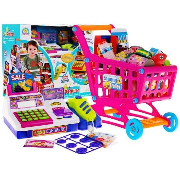 Pokladňa s nákupným vozíkom a doplnkami