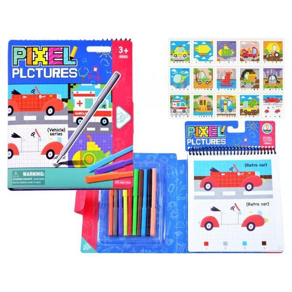 Vzdelávacia farebná omaľovanka pixel - vozidlá