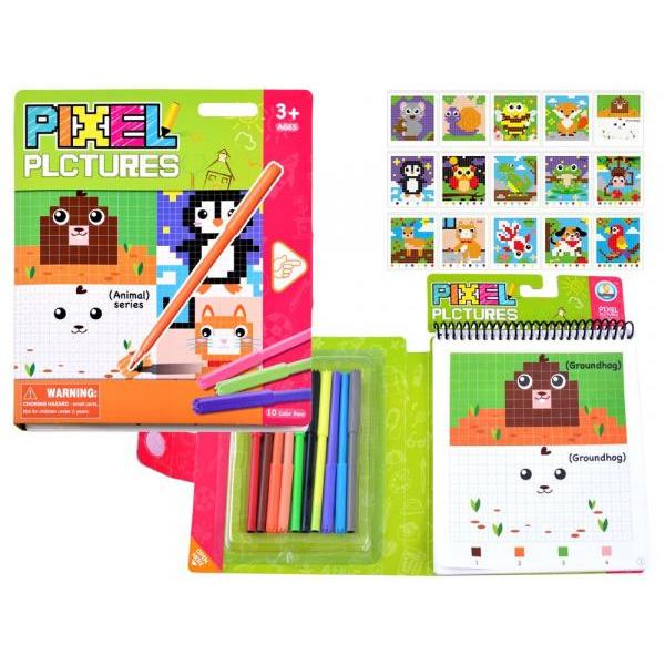 Vzdelávacia farebná omaľovanka pixel - zvieratká