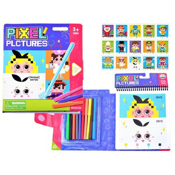 Vzdelávacia farebná omaľovanka pixel - postavičky