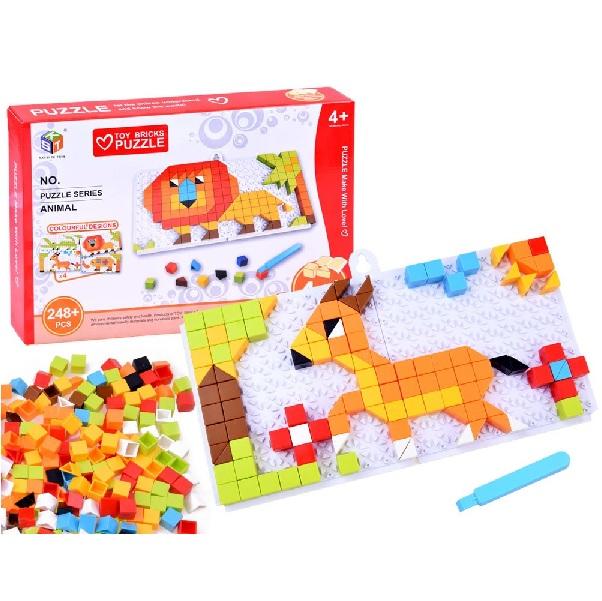 Vzdelávacie puzzle zvieratká - červené