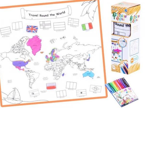Zmyvateľná omaľovanka Mapa sveta